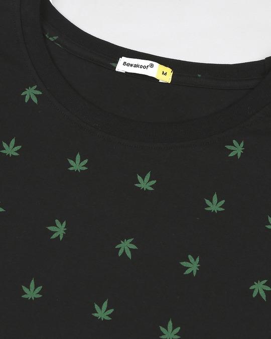 Shop Weed Leaf AOP Half Sleeves T-Shirt