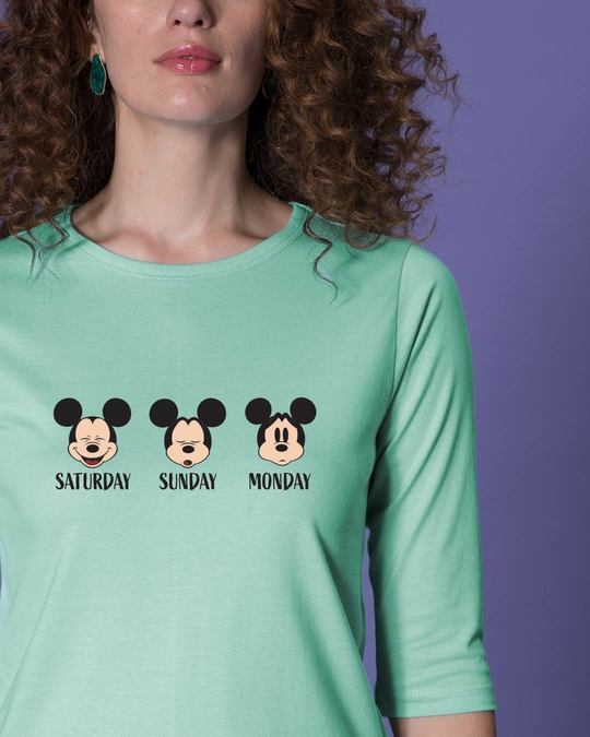 Shop Weekend Mood Mickey Round Neck 3/4th Sleeve T-Shirt (DL)-Front