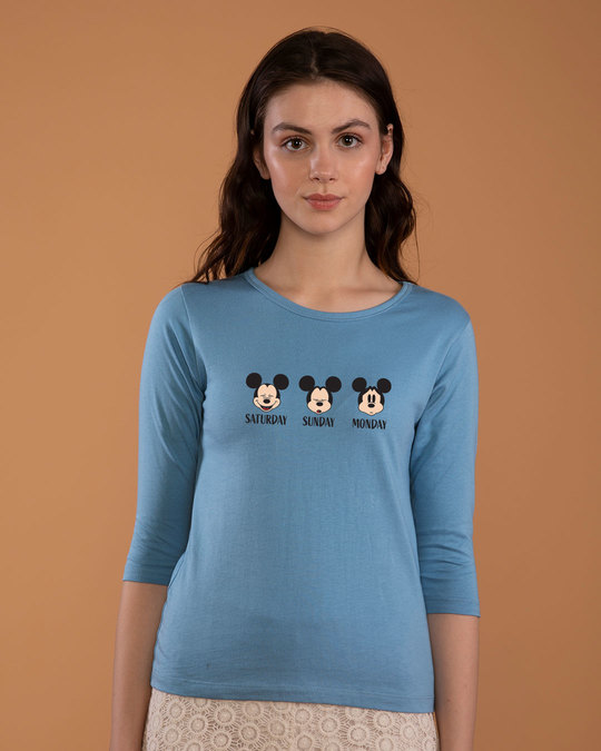 Shop Weekend Mood Mickey Round Neck 3/4th Sleeve T-Shirt (DL)-Back