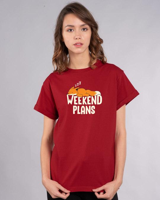 Shop Weekend Plans Boyfriend T-Shirt-Front