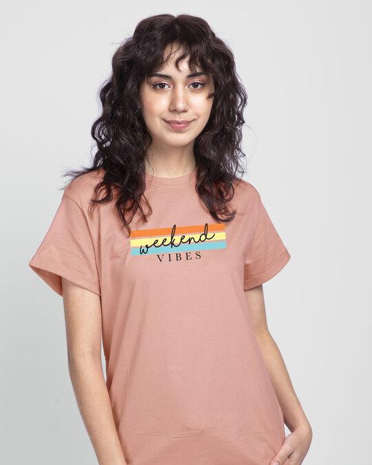 Shop Weekend Vibes Colorful Boyfriend T-Shirt-Front
