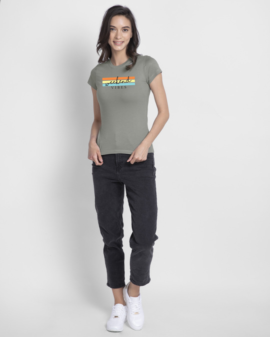 Shop Weekend Vibes Colorful Half Sleeve T-Shirt-Design