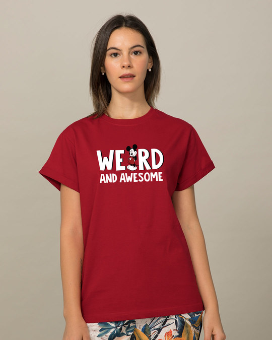 Shop Weird & Awesome Mickey Boyfriend T-Shirt (DL)-Front