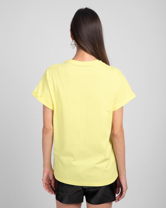 Shop Weird Mickey And Minnie Boyfriend T-Shirt (DL)-Pastel Yellow-Back