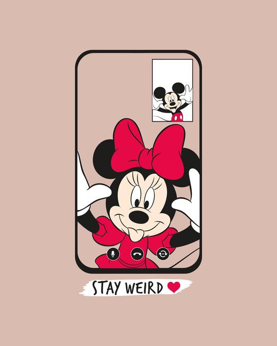 Shop Weird Mickey And Minnie Half Sleeve T-Shirt (DL)-Baby Pink-Full