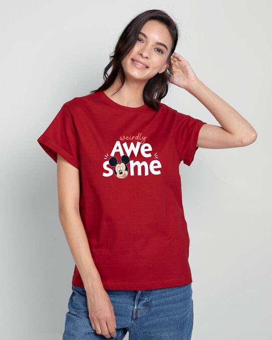 Shop Weirdly Awesome Mickey Boyfriend T-Shirt (DL) Bold Red-Back