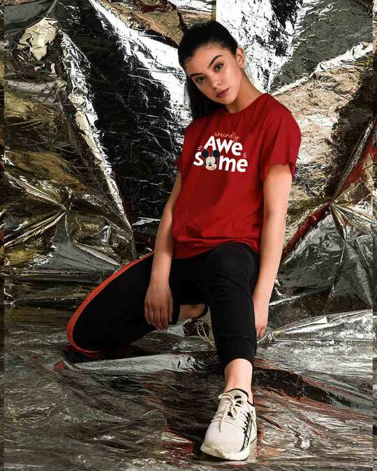 Shop Weirdly Awesome Mickey Boyfriend T-Shirt (DL) Bold Red-Front