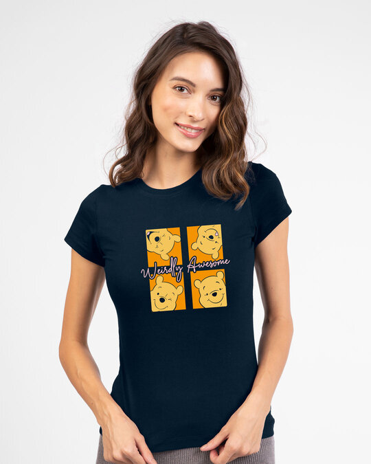 Shop Weirdly Awesome Pooh Half Sleeve T-Shirt (DL) Navy Blue-Front