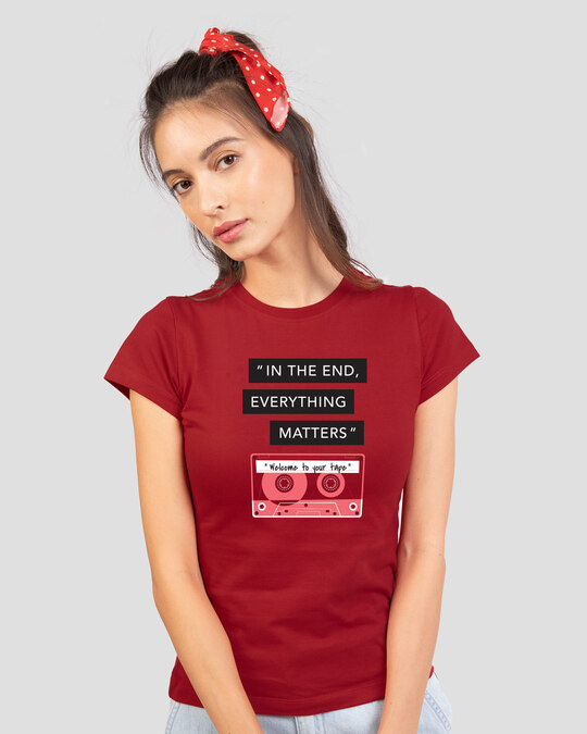 Shop Welcome To Your Tape 13 Half Sleeve Printed T-Shirt Bold Red-Back