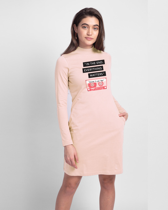 Shop Welcome To Your Tape 13 High Neck Pocket Dress Baby Pink-Front