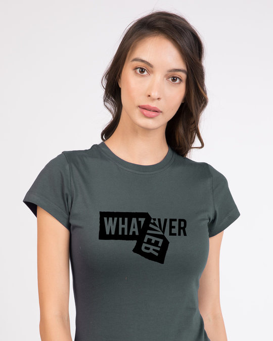 Shop Whatever Peel Off Half Sleeve T-Shirt-Front
