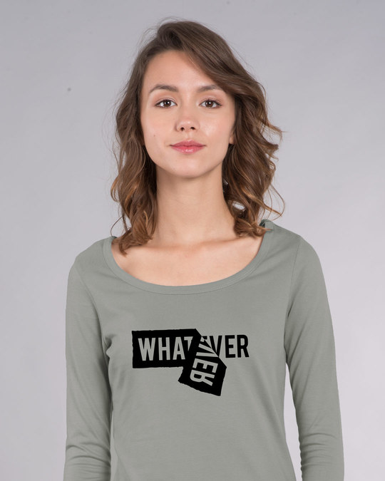 Shop Whatever Peel Off Scoop Neck Full Sleeve T-Shirt-Front