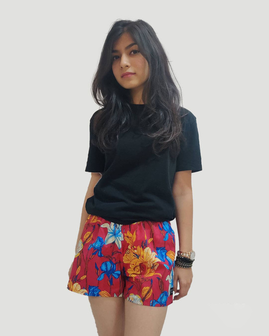 Shop Whats Down Women's Red Floral Boxer