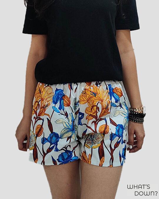 Shop Whats Down Women's White Floral Boxer-Front