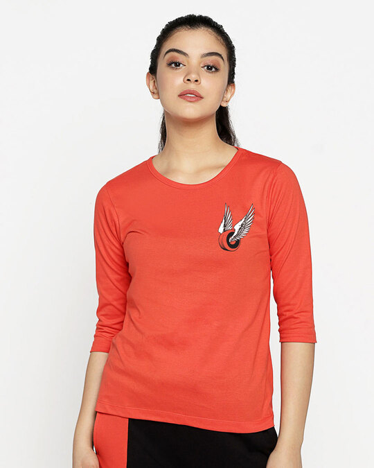 Shop Wheel Wings Round Neck 3/4th Sleeve T-Shirt Smoke Red-Back