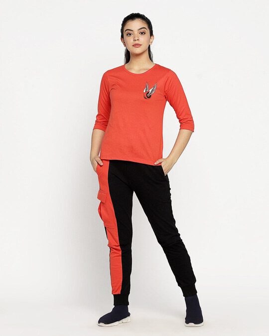 Shop Wheel Wings Round Neck 3/4th Sleeve T-Shirt Smoke Red