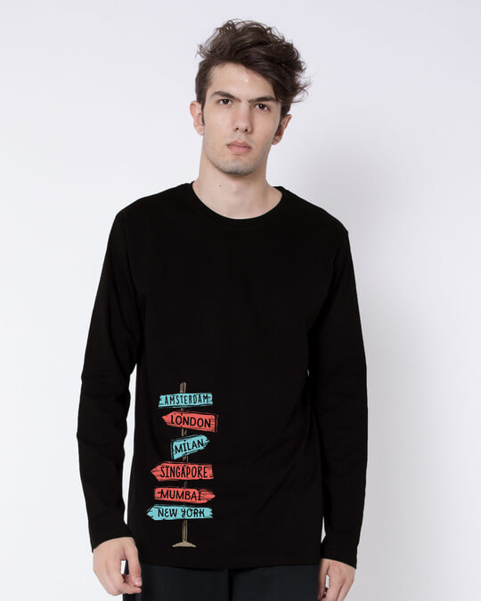 Shop Which Way To Go Full Sleeve T-Shirt-Front