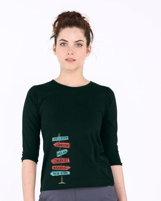 Shop Which Way To Go Round Neck 3/4th Sleeve T-Shirt-Front