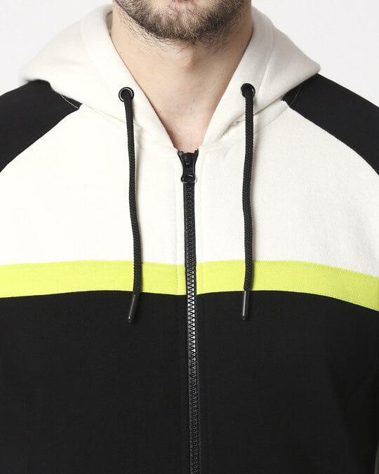 Shop Black Three Block Zipper Hoodie Sweatshirt