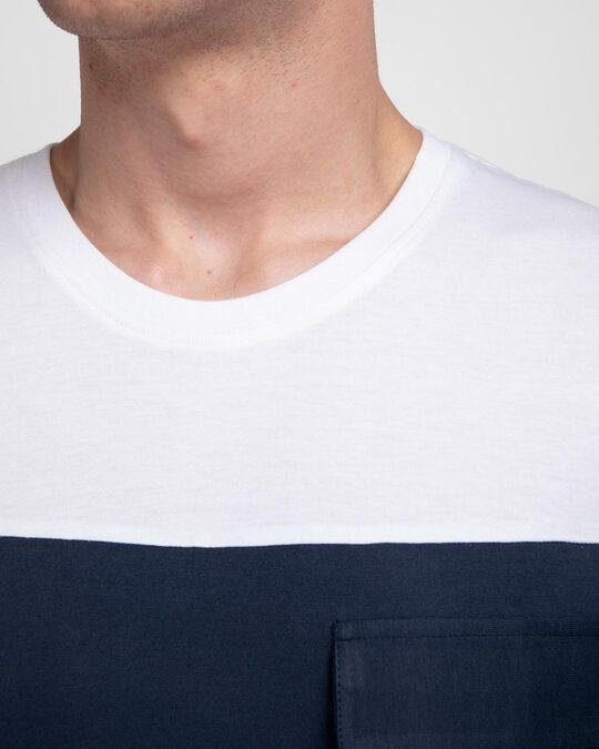Shop White & Galaxy Blue 90's Vibe Cargo Pocket T-Shirt