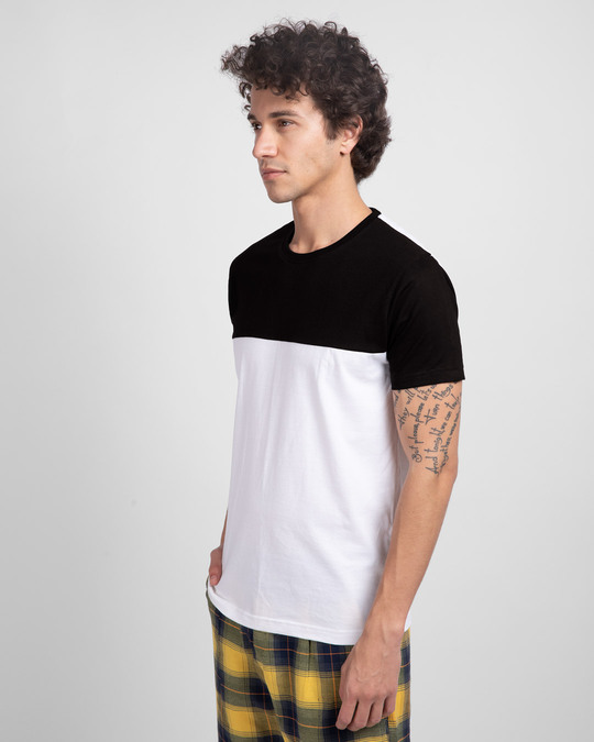 Shop White & Jet Black 90's Vibe Panel T-Shirt-Back