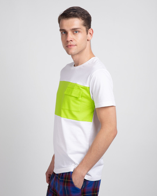 Shop White & Neon Green 90's Vibe Cargo Pocket T-Shirt-Back