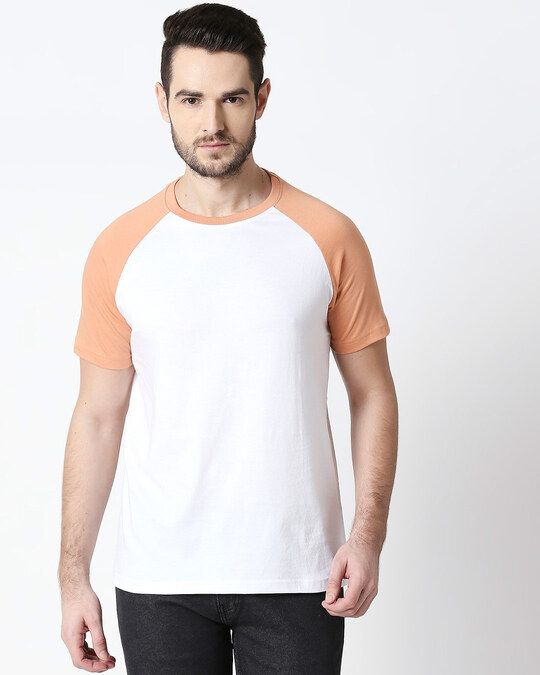 Shop White & Orange Half Sleeve Raglan T-Shirt-Front