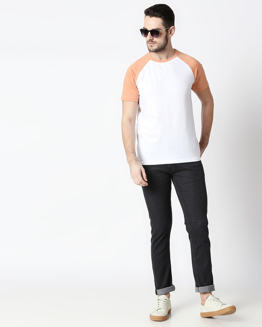 Shop White & Orange Half Sleeve Raglan T-Shirt