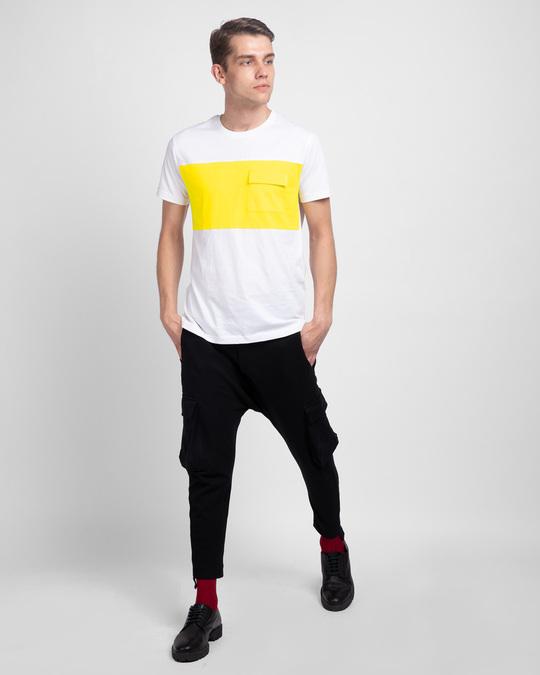 Shop White & Pineapple Yellow 90's Vibe Cargo Pocket T-Shirt-Full