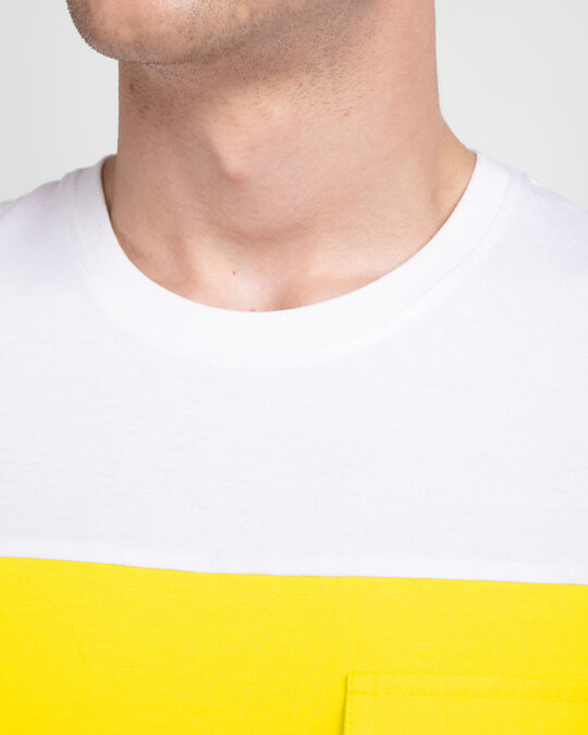 Shop White & Pineapple Yellow 90's Vibe Cargo Pocket T-Shirt