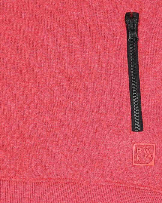 Shop Red Melange - White Contrast Sleeves Zipper Hoodie