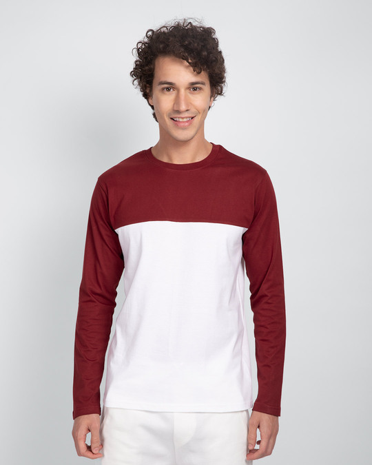 Shop White & Scarlet Red 90's Vibe Panel T-Shirt-Front