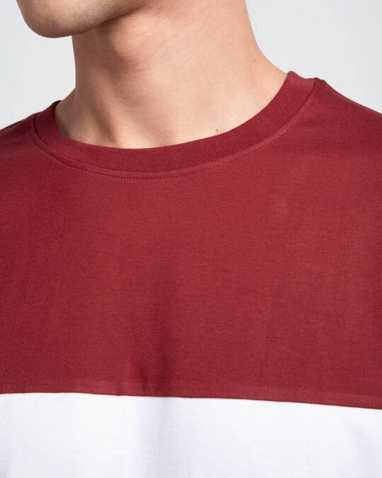 Shop White & Scarlet Red 90's Vibe Panel T-Shirt