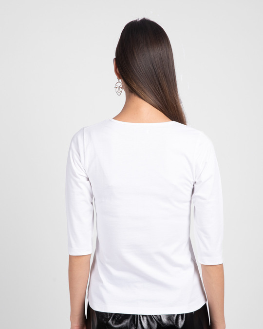 Shop White 3/4 V Neck T-Shirt-Design