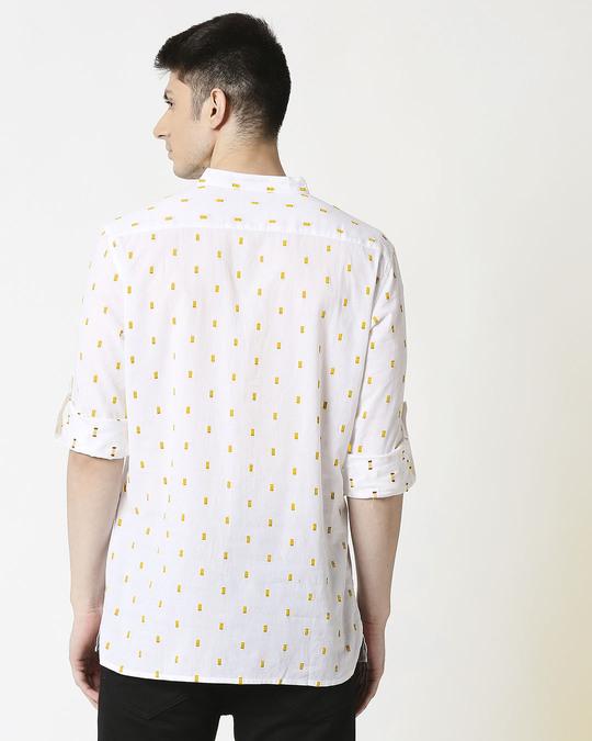Shop Men's White Mustard Dobby Kurta-Design