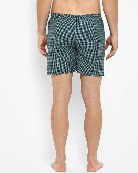 Shop Joven | White and Green Checked Boxers-Full