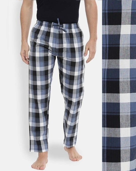 Shop Joven | White and Navy Gingham Checked Pyjamas-Back