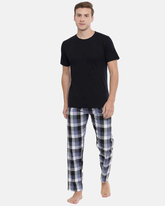 Shop Joven | White and Navy Gingham Checked Pyjamas