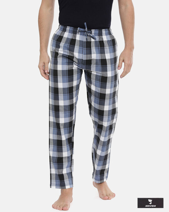 Shop Joven | White and Navy Gingham Checked Pyjamas-Front