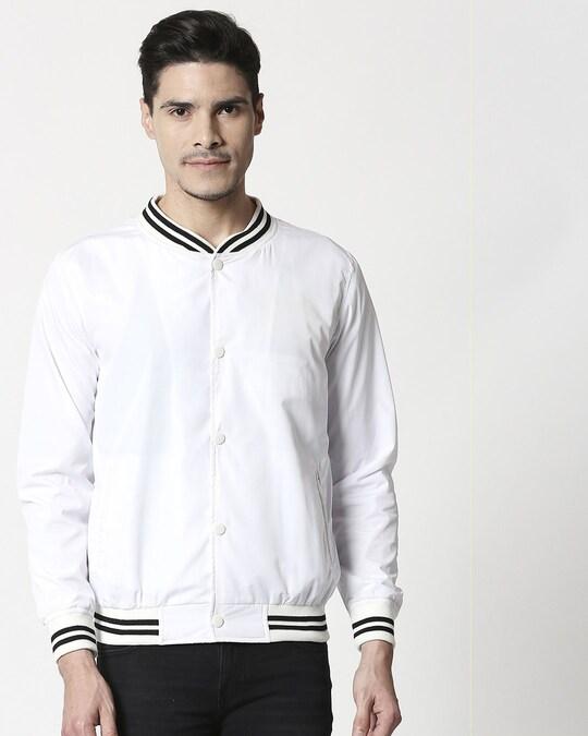 Shop White Anti Varsity Bomber Jacket-Back