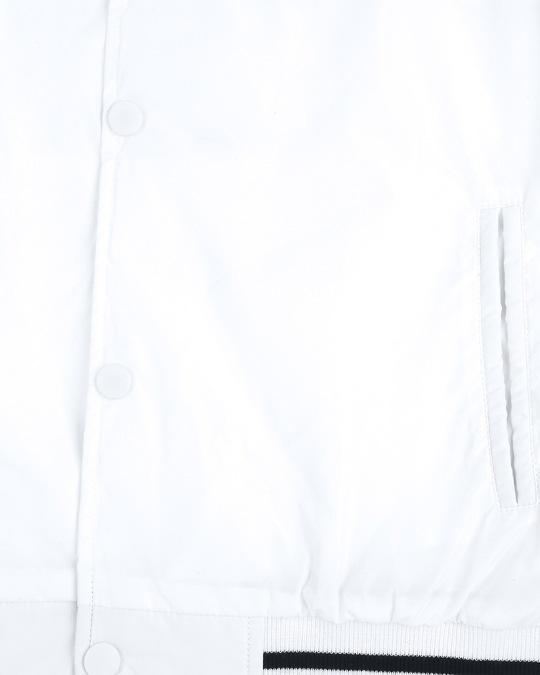 Shop White Anti Varsity Bomber Jacket