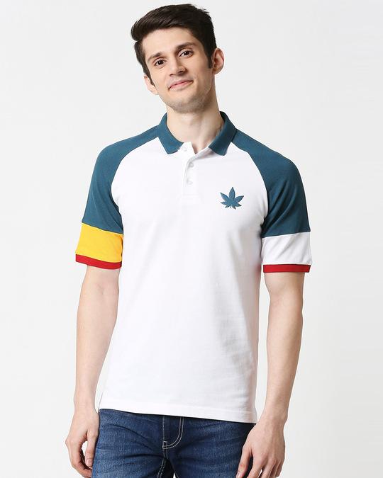 Shop White Half Sleeve Raglan Shoulder Cut & Sew Polo-Back