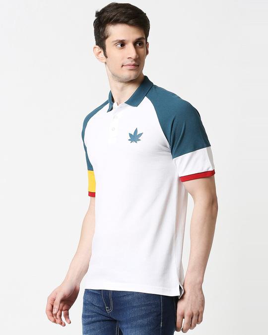 Shop White Half Sleeve Raglan Shoulder Cut & Sew Polo-Design
