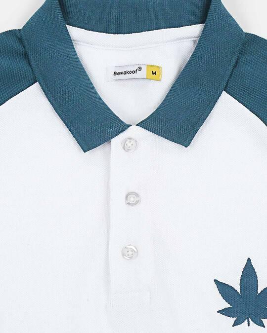 Shop White Half Sleeve Raglan Shoulder Cut & Sew Polo