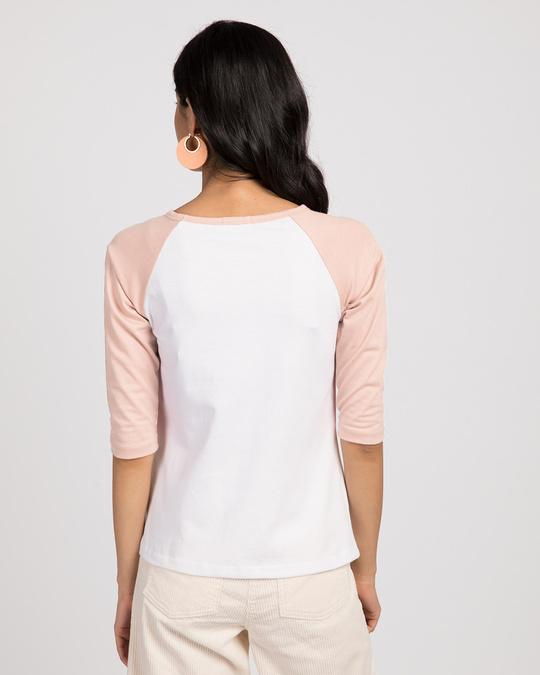 Shop White-Baby Pink 3/4th Sleeve Raglan T-Shirt