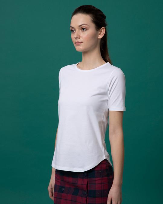 Shop White Basic Round Hem T-Shirt-Back