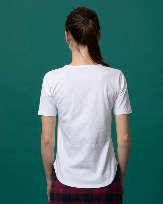 Shop White Basic Round Hem T-Shirt-Full