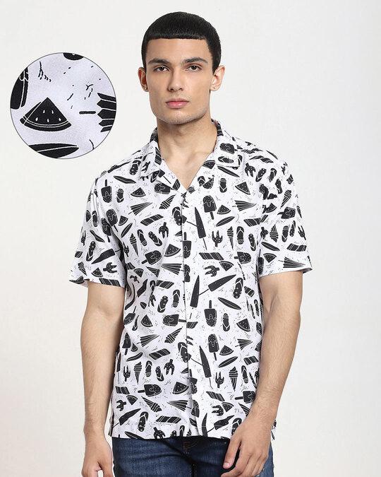 Shop White Beach AOP Half Sleeve Shirt-Front