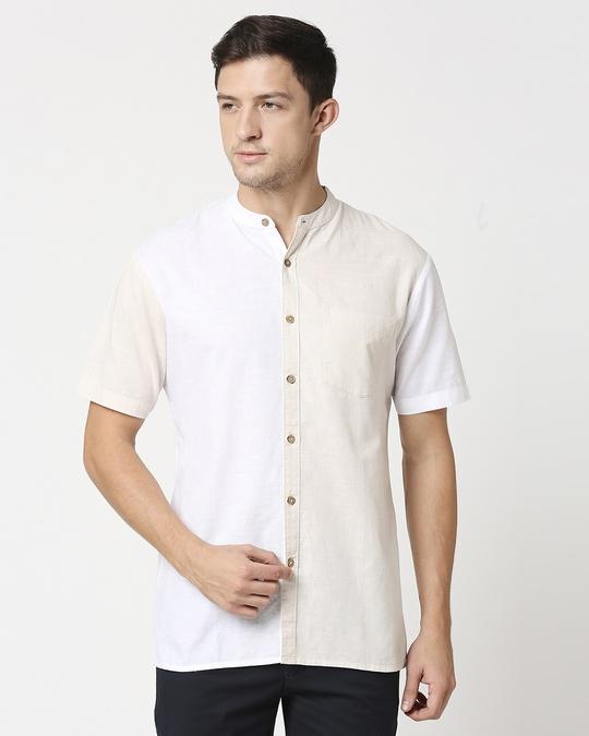 Shop Men's Linen Color Block Half Sleeves Shirt-Back