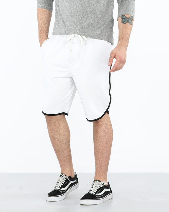 Shop White-Jet Black Runner Fleece Shorts-Front